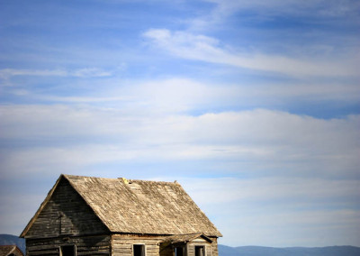 Abandoned house in fields of Bancroft, Idaho