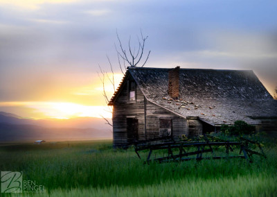 Abandoned house Bancroft, Idaho at sunset