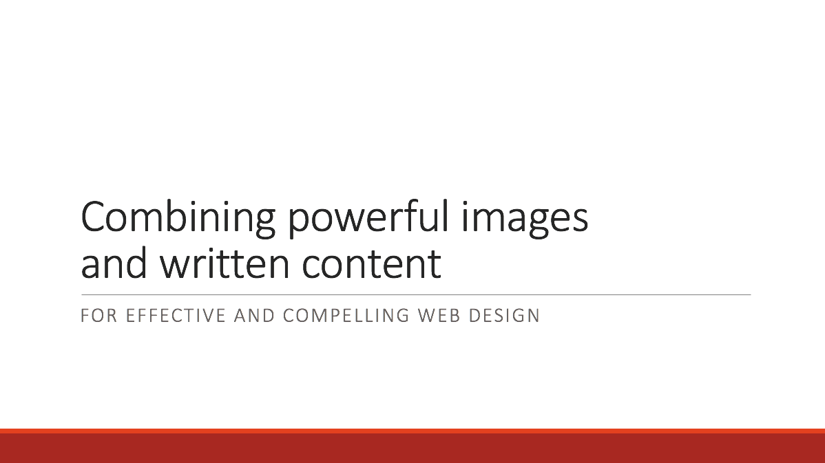 Combining powerful images and text for effective websites